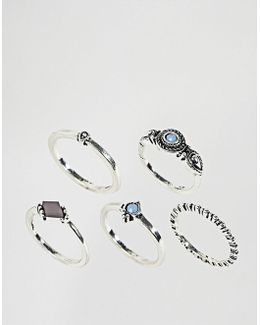 Pack Of 5 Engraved Mini Stone Rings