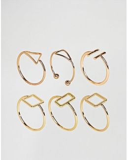 Pack Of 6 Fine Open Shape Rings