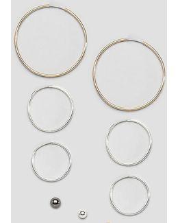 Pack Of 6 Hoops And 3 Stud Earrings