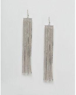 Stone Set Chain Fringe Earrings