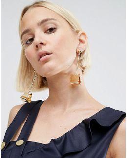 Corrugated Metal Drop Earrings