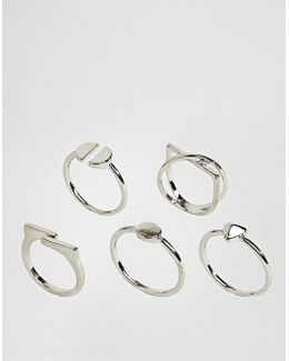 Pack Of 5 Sleek Shape Rings
