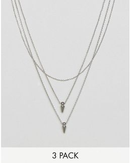 Fine Spike Multirow Necklace