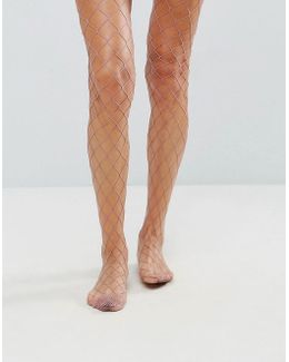 Oversized Fishnet Tights In Mauve