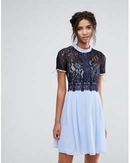 Skater Dress With Corded Lace Upper