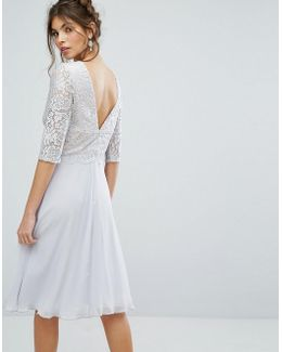 V Back Midi Dress With Eyelash Lace Upper