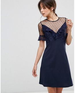 A Line Mini Dress With Lace Frill & Fluted Sleeve