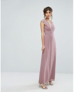 Maxi Dress With Eyelash Lace And Embellished Waist