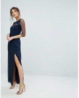 Maxi Dress With Polka Mesh And Eyelash Lace Upper