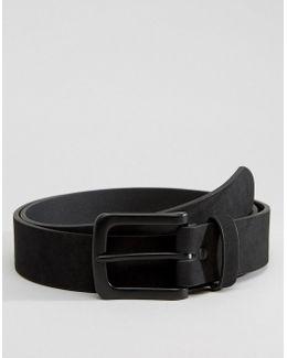 Slim Belt In Black Faux Suede