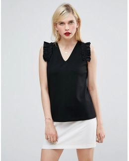 Top In Ponte With Woven Ruffle Sleeve Detail