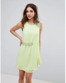 Cecile Drape Embellished Trim Dress