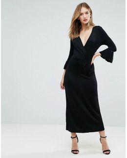 Wonder Lace Insert Fluted Sleeve Dress