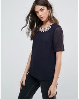Samba Star Embellished Neck Trim Blouse