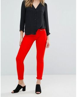Skinny Zipped Red Jeans