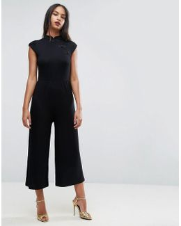 Jersey Jumpsuit With High Neck And Cap Sleeve