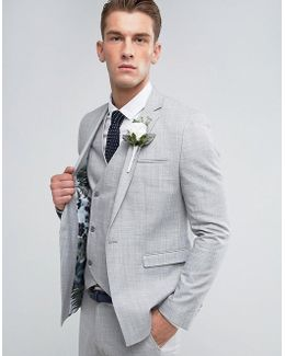 Wedding Skinny Suit Jacket In Crosshatch Nep In Light Grey With Floral Print Lining
