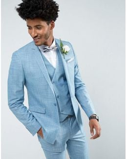 Wedding Skinny Suit Jacket In Crosshatch Nep In Light Blue With Floral Print Lining