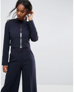 Tailored Cropped Military Style Blazer