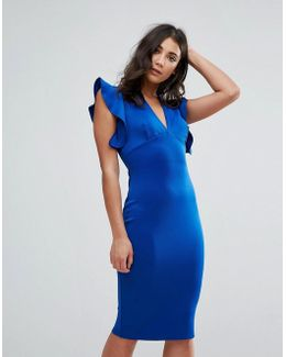 V Neck Ruffle Bodycon Dress