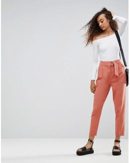 Tailored Peg Trousers With D-ring Detail