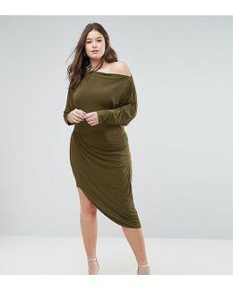 Assymetric Slinky Wrap Dress