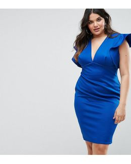 Plus Ruffle V Neck Bodycon Dress