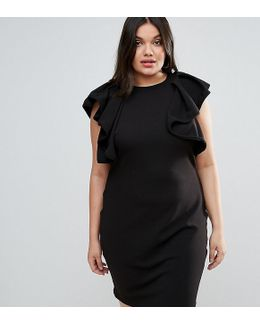 Plus High Neck Ruffle Detail Dress