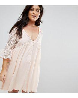 Plus Lace Detail Flute Sleeve Dress