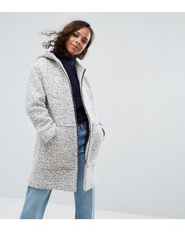 Hooded Textured Coat With Ring Pull