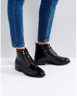 Quota Lace Up Flat Ankle Boots