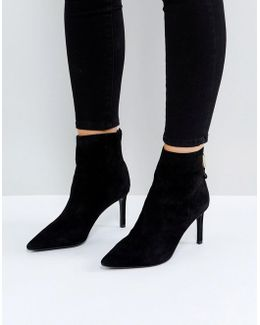 Oralia Suede Pointed Heeled Boots