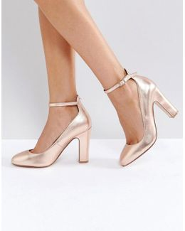 Aalto Rose Gold Block Heeled Shoes