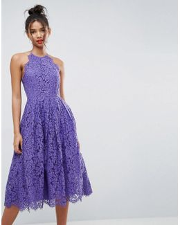 Lace Pinny Scallop Edge Prom Midi Dress