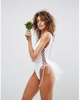 Bridal Lace Up Side Tulle Swimsuit
