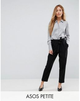 Petite Woven Peg Pants With Obi Tie
