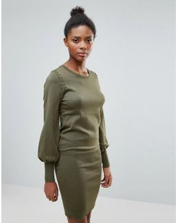 Sweater Dress With Flared Sleeve