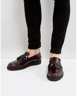 X George Cox Leather Tassel Loafers Red