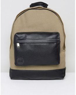Canvas Tumbled Backpack In Khaki & Black