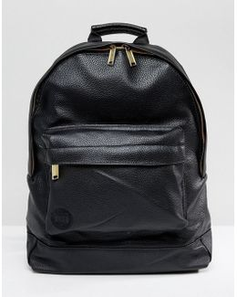 Tumbled Backpack In Faux Leather Black