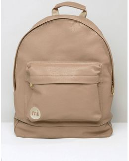 Tumbled Backpack In Faux Leather Beige