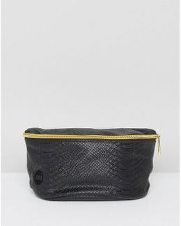 Python Leather Look Bum Bag In Black