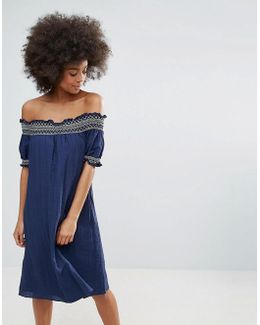Bandeau Summer Dress With Embrodiered Detail