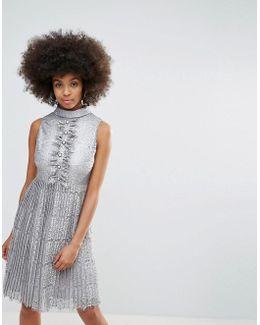 Metallic Lace Midi Dress With Pleated Skirt