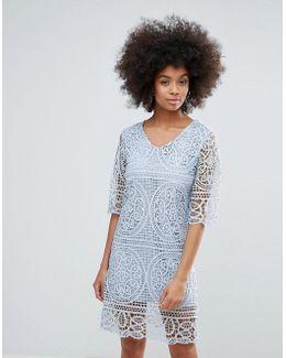 3/4 Sleeve Crochet Lace Shift Dress