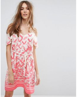 Flamingo Print Cold Shoulder Dress