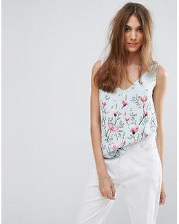 V Neck Floral Printed Cami