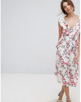 Floral Printed Ruffle Tea Dress