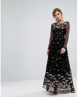Premium Floral Embroidered Embellished Maxi Dress