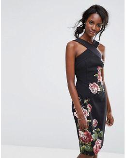 Royal Worcester Floral High Neck Pencil Dress
